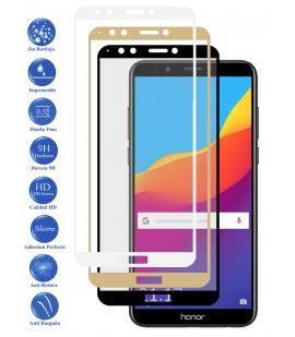 Protector de Cristal Templado Completo 3D 9H para Huawei Y7 2018 Elige Color