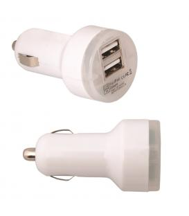 CARGADOR DE MECHERO DUAL PARA COCHE DOBLE USB BLANCO GALAXY S2 S3 S4 MINI TREND