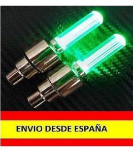 2x Tapon Luz Led para valvula Llanta de Rueda Coche Moto Bicicleta LUCES Verde