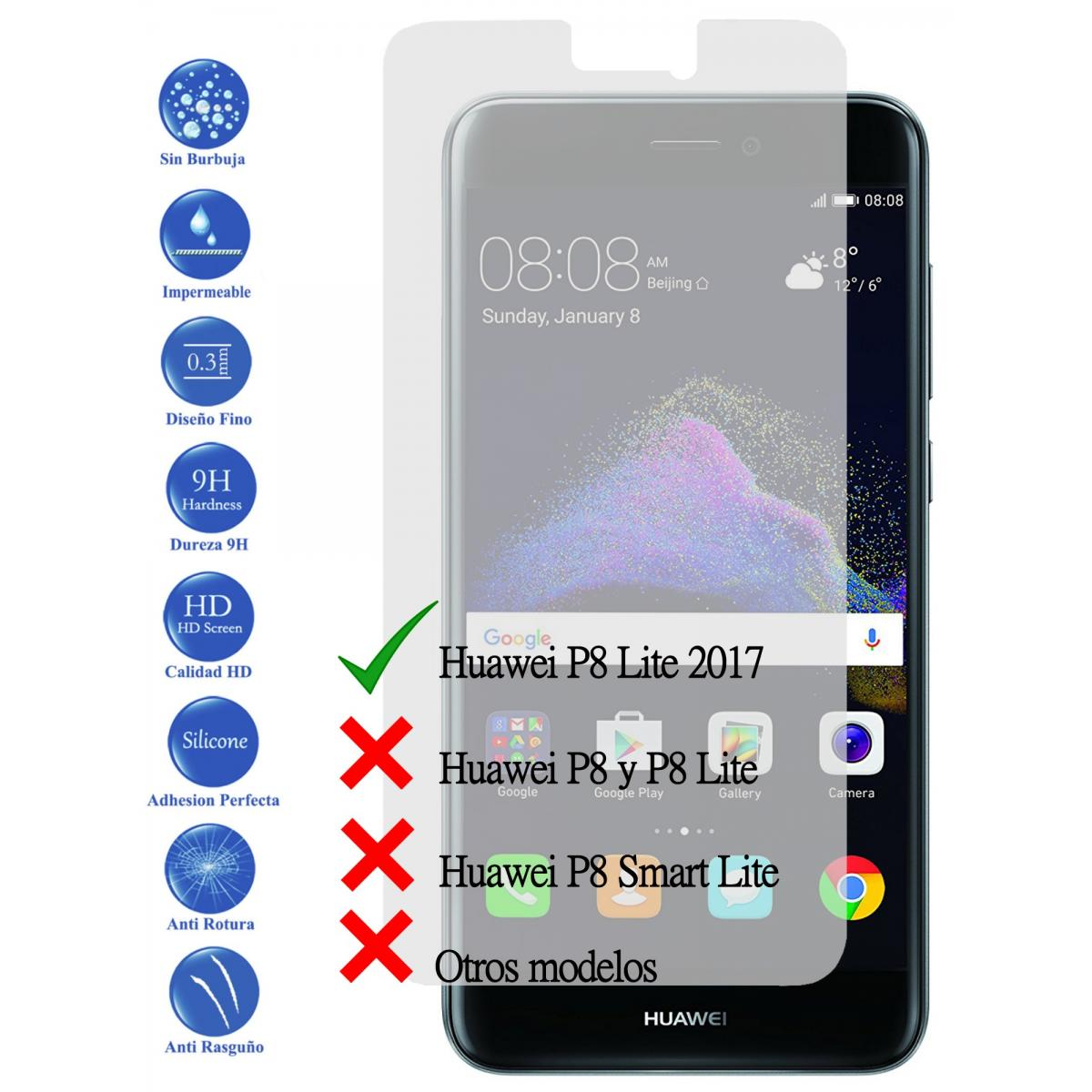 3da4f98fcc0 Protector de Pantalla Cristal Templado Vidrio 9H para Huawei Ascend P8 Lite  2017