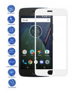 Protector de Pantalla Cristal Templado Curvo 3D para Motorola G5 plus Blanco