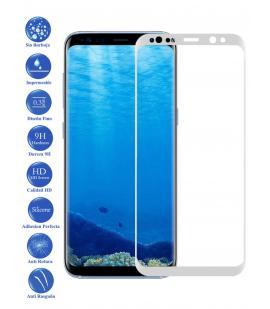 Protector de Pantalla Cristal Templado Curvo 3D para Samsung Galaxy S8 Blanco