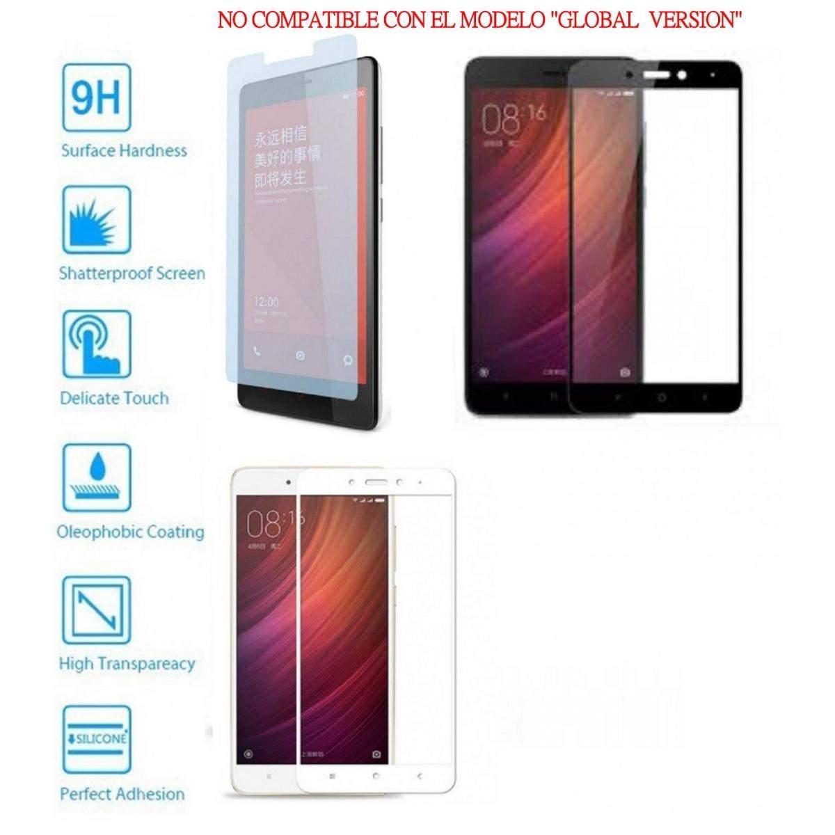 Protector de Cristal Templado Completo 9H para Xiaomi Redmi Note 4 Elije Color