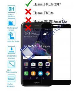 Protector de Pantalla Cristal Templado Completo para Huawei P8 Lite 2017 Negro