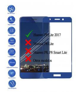 Protector de Pantalla Cristal Templado Completo para Huawei P8 Lite 2017 Azul