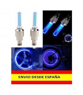 2x Tapon Luz Led para valvula Llanta de Rueda Coche Moto Bicicleta LUCES Azul