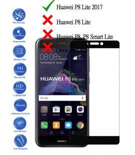 Protector de Pantalla para Huawei P8 Lite 2017 Negro Completo Cristal Templado