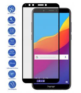 Protector de Pantalla para Huawei Y7 2018 Negro Completo Cristal Templado Curvo
