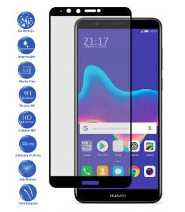 Protector de Pantalla para Huawei Y9 2018 Negro Completo Cristal Templado Curvo