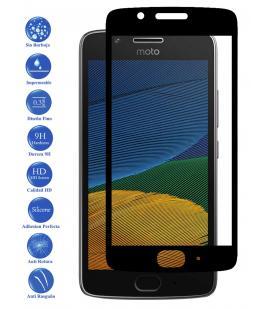 Protector de Pantalla para Motorola G5 5.0 Negro Completo Cristal Templado