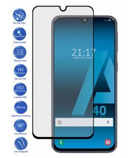 Protector de Pantalla para Galaxy A10 Negro Completo Cristal Templado Curvo 3D