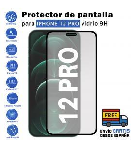 Protector de pantalla Apple Iphone 12 pro Negro de Cristal Templado Vidrio 9H para movil - Todotumovil
