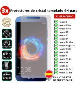 3X Protector de pantalla Completo 3D para Huawei Honor 8 8A 8C 8X 9A 9i 9X 10 20 Max Lite Pro