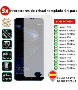 3X Protector de pantalla para Huawei P10 P20 P30 P40 Lite Plus Pro New Edition E. Vidrio de cristal templado transparente movil