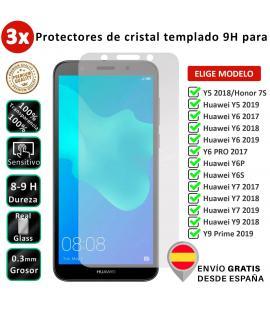 3X Protector de pantalla para Huawei Y5 Y6 Y6S Y6P Y7 Y9 2017 2018 2019 Prime Pro Honor 7S.Cristal templado de movil