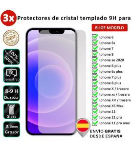 3X Protector de pantalla para iPhone 6 6s 7 8 X XS Max 11 12 Mini Plus SE 2020 delanteros y traseros. Cristal templado