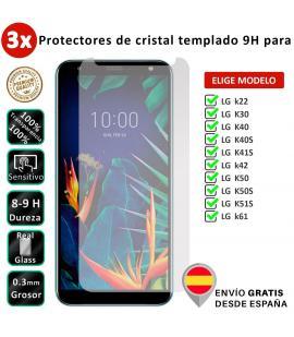 3X Protector de pantalla para LG k22 K30 K40 K40S K41S k42 K50 K50S K51S k61. Vidrio de cristal templado transparente para movil