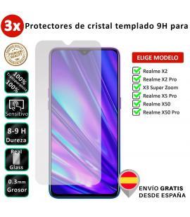 3X Protector de pantalla para Realme X2 X3 X5 X50 Pro Super Zoom. Vidrio de cristal templado transparente para movil