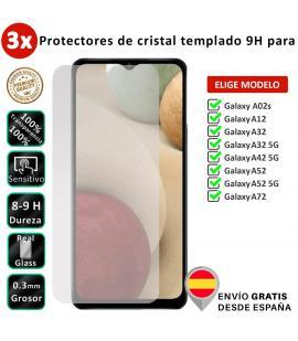 3X Protector de pantalla para Samsung Galaxy A02s A12 A32 A42 A52 A72 5G. Cristal templado transparente para movil. Elige modelo