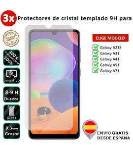3X Protector de pantalla para Samsung Galaxy A21S A31 A41 A51 A71. Vidrio de cristal templado transparente para movil