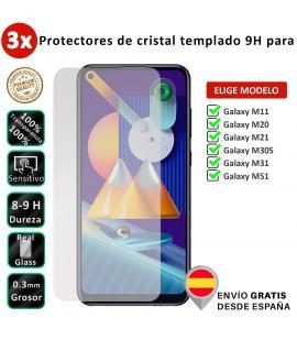 3X Protector de pantalla para Samsung Galaxy M11 M20 M21 M30S M31 M51. Cristal templado transparente para movil. Elige modelo