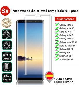 3X Protector de pantalla para Samsung Galaxy Note 8 10 20 5G S21 S20 Plus Ultra. Cristal de vidrio templado. Elige modelo