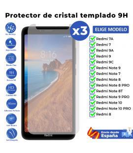3X Protector de pantalla para Xiaomi Redmi Note 9T 9C 9A 9S 9 8A 8T 7 7A 10 Pro. Vidrio de cristal templado transparente