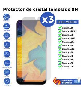 3X Protector de pantalla para Samsung Galaxy A10 A10S A20 A20E A20s A30 A30s A40 A50 A70 A80 A90. Cristal templado transparente