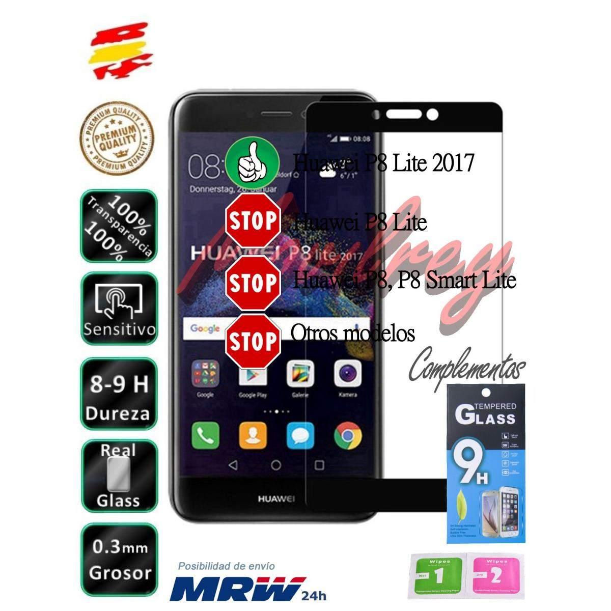 fd0f9ff6df6 Set Protector de Pantalla Cristal Templado Completo Huawei P8 Lite 2017  Negro