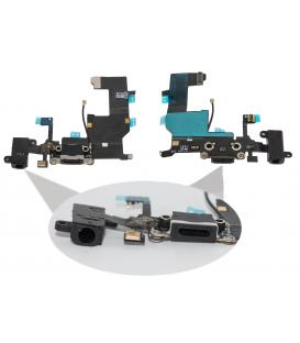 Cable Flex Conector USB Dock Carga Microfono Jack de Audio Negro para Iphone 5