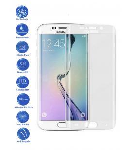 Protector de Cristal Templado Curvo 3D para Samsung Galaxy S6 Edge Color Blanco