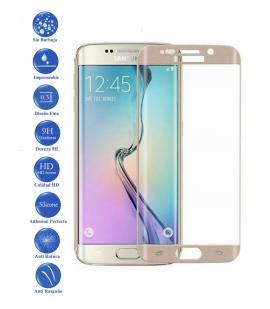 Protector de Cristal Templado Curvo 3D para Samsung Galaxy S6 Edge Color Dorado