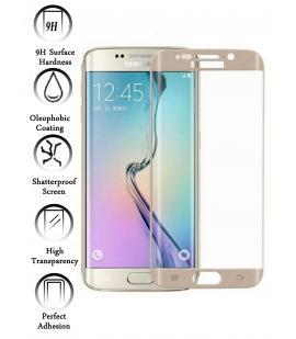 Kit Protector de Cristal Templado Curvo para Samsung Galaxy S6 Edge Dorado