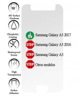 Kit Protector de Pantalla Cristal Templado Vidrio para Samsung Galaxy A3 2017
