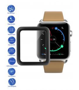 Protector de Pantalla Cristal Templado Completo para Apple Watch 38 mm Negro