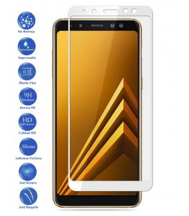Protector de Pantalla Cristal Templado Completo Samsung Galaxy A8 2018 Blanco