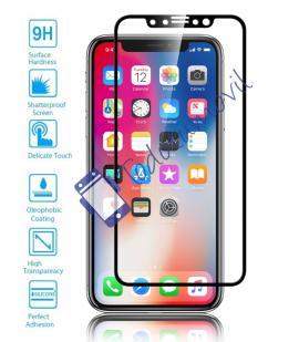 Lote Protector de Pantalla Cristal Templado Completo Apple Iphone X 10 Negro