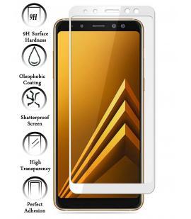 Kit Protector de Cristal Templado Completo Samsung Galaxy A8 2018 Blanco