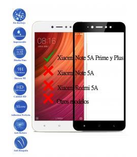 Protector de Pantalla Cristal Templado Completo para Xiaomi Note 5A Prime Negro