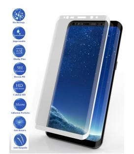 Protector de Pantalla Cristal Templado Completo para Samsung Galaxy S9 Blanco